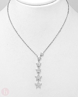 Colier din argint cu stelute si cristale albe