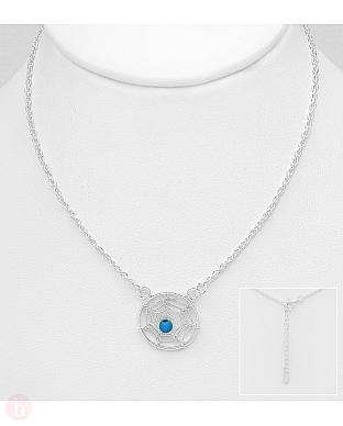Colier din argint model Dream Catcher cu piatra albastra