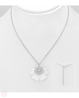 Colier din argint model floare cu cristale