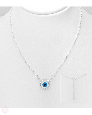 Colier din argint model ochi albastru din sidef si email