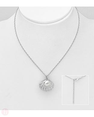 Colier din argint model scoica cu cristale si perla