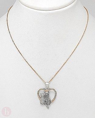Colier din argint placat cu aur si medalion inima cu pisici indragostite