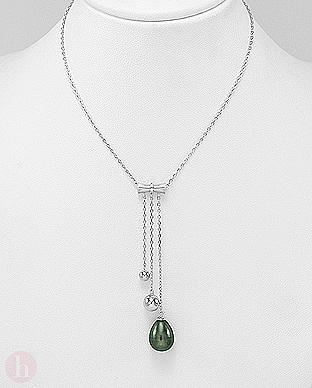 Colier elegant din argint cu perla neagra, cristale si bilute
