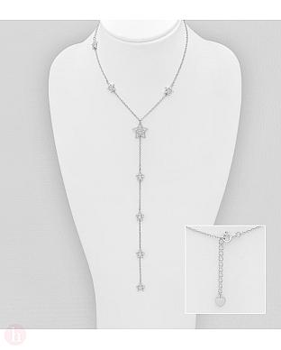 Colier elegant din argint cu stelute si cristale