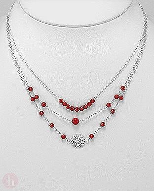 Colier triplu din argint cu pietre rosii si floare