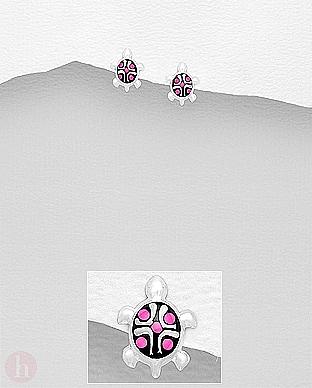 Crcei mici din argint cu broasca testoasa si carapace roz
