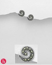 Cercei mici melc - spirala cu marcasite