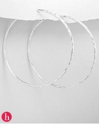 Cercei veriga din argint diametru de 65 mm, gravati cu stelute