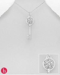 Pandant din argint model cheie cu fulg de zapada