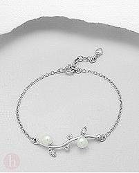 Bratara argint cu perle si Cubic Zirconia
