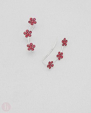 Cercei argint agrafa alungiti pe lobul urechii cu flori rosii