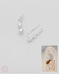 Cercei argint alungiti Cubic Zirconia albe