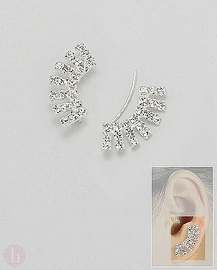 Cercei argint alungiti pe lobul urechii cu cristale albe