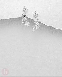 Cercei argint colaj de cristale neregulate albe