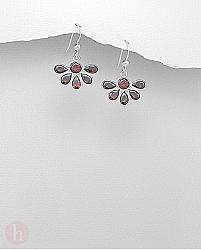 Cercei argint cu cristale rosii