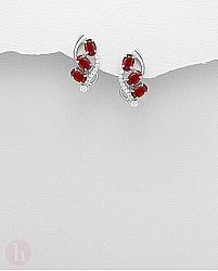 Cercei argint Cubic Zirconia albe si rosii