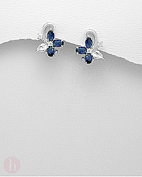 Cercei argint floare cristale albastre si albe