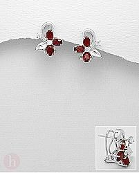 Cercei argint floare cristale rosii si albe