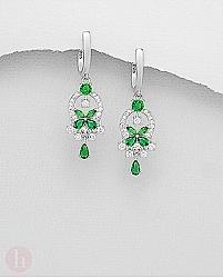 Cercei argint model floare cristale verzi si albe