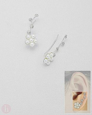 Cercei argint pe lobul urechii floare cu cristale