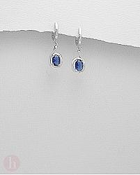 Cercei argint lungi cu cristal oval albastru