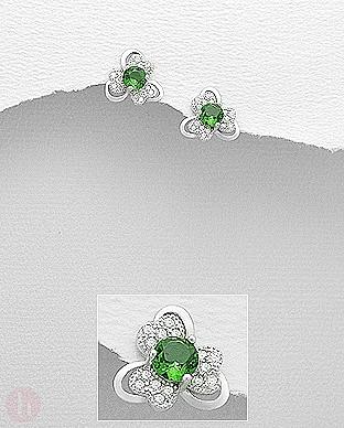 Cercei argint model floare verde