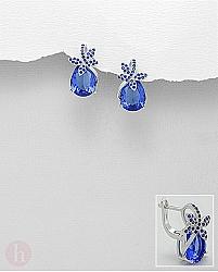 Cercei argint model libelula Cristale albastre