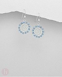 Cercei argint model melc cu cristale bleu safir