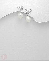 Cercei argint cu perle model fluture cu cristale