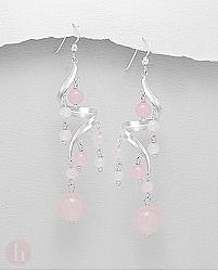 Cercei lungi candelabru spiralat cu pietre cuart roz