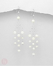 Cercei lungi argint cu perle de cultura model candelabru