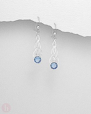 Cercei lungi argint model celtic cu cristal bleu