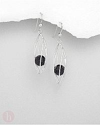 Cercei lungi model colivie cu cristal negru