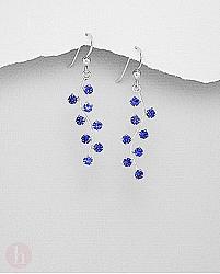 Cercei lungi argint model strugure cristale albastre