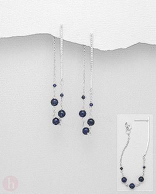 Cercei lungi cu lantisor si pietre lapis lazuli