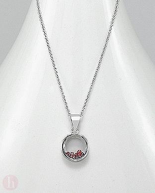 Colier argint cu cristale mobile rosii