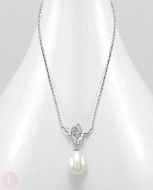 Colier argint cu 3 fluturasi si perla