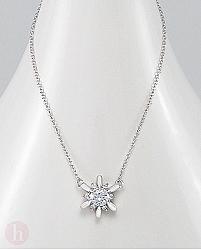 Colier argint model floare cu cristale albe