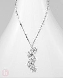 Colier argint model stelute cu cristale albe