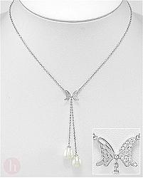 Colier argint cu perle si Cubic Zirconia model fluture