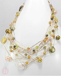 Colier din argint cu perle de cultura si cristale din sticla