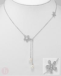 Colier din argint cu perle de cultura si Cubic Zirconia