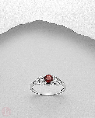 Inel argint cristale Cubic Zirconia rosu si alb