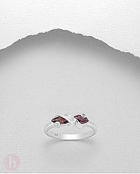 Inel argint cu cristale Zirconia rosii si albe rasucite