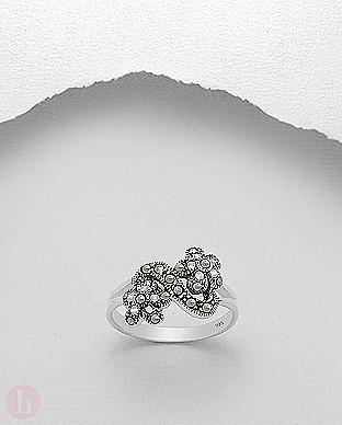 Inel argint cu flori din marcasite