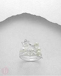 Inel argint cu flori si perle de cultura