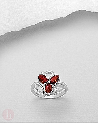 Inel argint floare cu 3 petale Cubic Zirconia rosii si albe