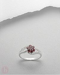 Inel argint model floare rosie cu cristale