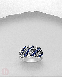 Inel argint lat cu cristale Zirconia albe si albastre