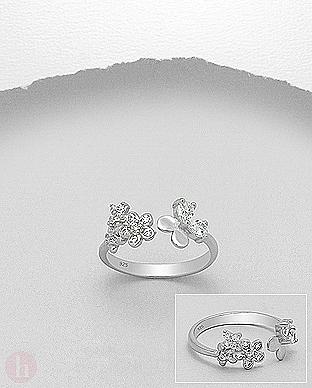Inel argint model cu flori si cristale de Zirconia